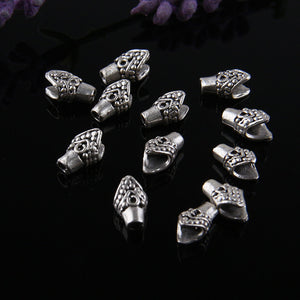 Mini Cord Ends, Mini Tassel Caps, Silver Plated, 12 pcs // SF-089