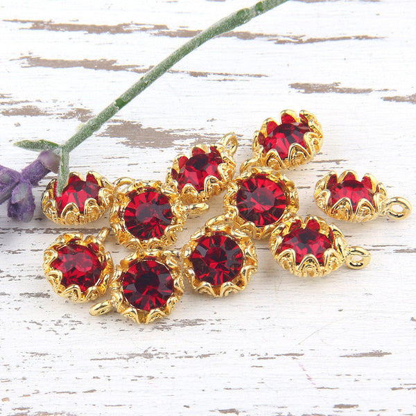 Red, Crystal Charm Pendant with Floral Backed Bezel Setting, 22k Shiny Gold Plated,1 piece // GP-454
