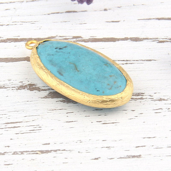 Oval Turquoise Stone Pendant with Textured Open Bezel Setting, 22k Matte Gold Plated, 1 piece // GP-453