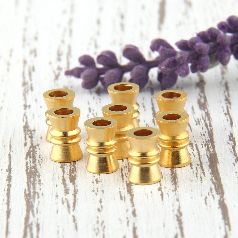 Matte Gold Bead Spacer, 22k matte gold plated, 8 pcs // GB-176