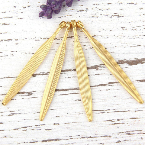 Gold Plated Long Leaf Charm Pendants, 4 pieces// GP-475
