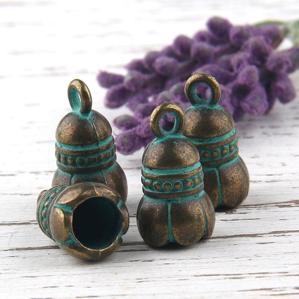 Flower Shaped Verdigris Green Patina Tassel Cap, Cord End, End Caps, Antique Bronze, 4 pieces // ABF-017