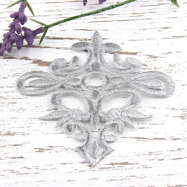 SALE, Iron On Embroidery Applique Patch, Metallic Silver, 1 piece // APP-012