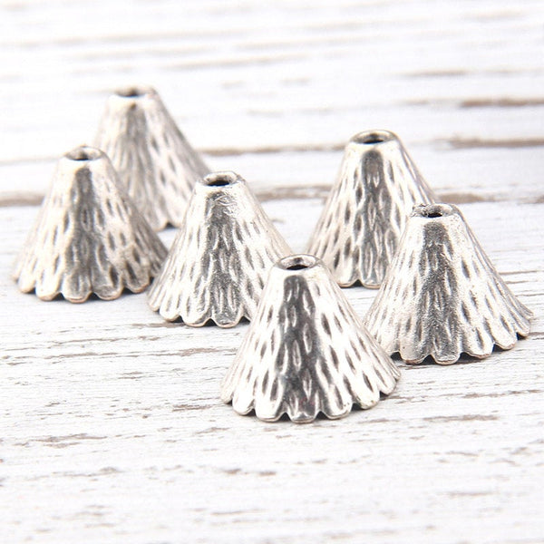 Silver Plated Etched Cone Caps, Silver Cones, Tassel Caps, Bead Caps, 6 pieces//SF-086