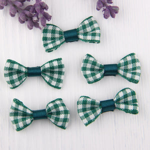 SALE, Dark Green, Chequered Mini Ribbon Bow Ties, Headband bow tie, Scrap booking bow tie,Hair accessory 3 cm, 5 pieces