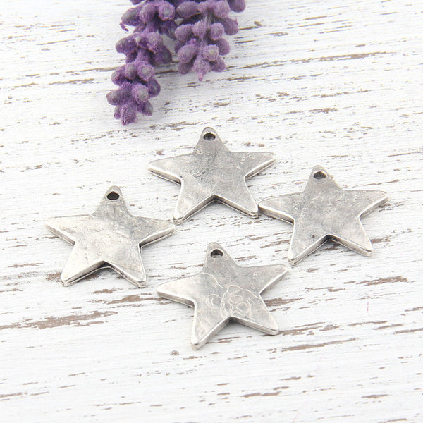 Matte Silver Star Charms, 23mm, 4 pieces // SCh-133