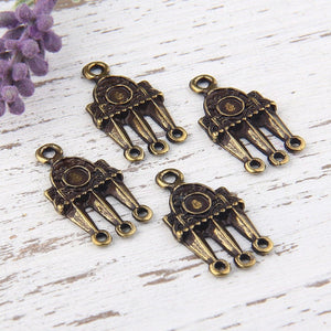 Triple Loop Connector, Tribal Multi loop link, Antique Bronze, 4 pieces // ABC-017