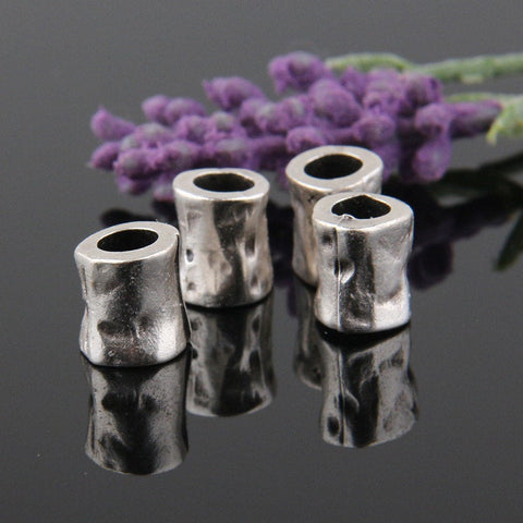 Organic, Hammered  Small Tube Beads, Silver Plated, 10x11mm, 4 pieces // SB-091