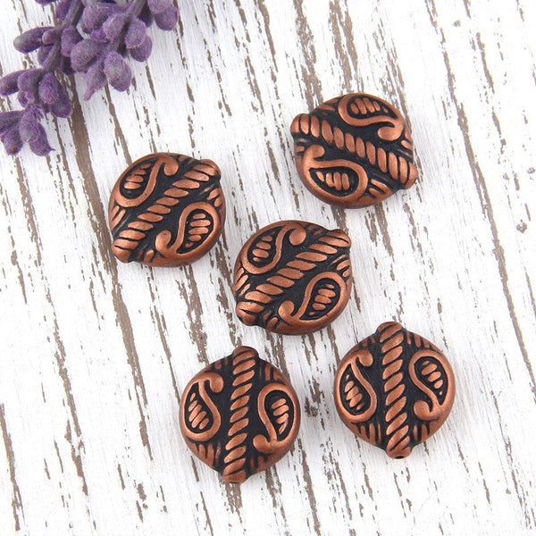 SALE, Antique Copper, Metal Looking Acrylic Ethnic/Tribal Beads, 5 pieces // BD-039