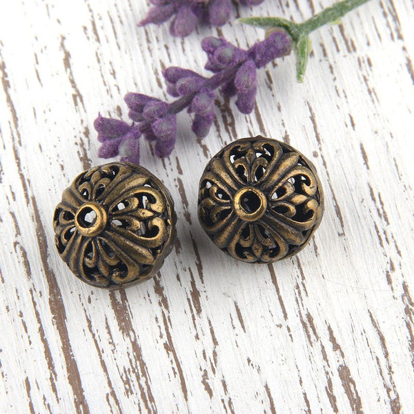 Antique Bronze Hollow Fretwork Beads, 2 pieces // ABB-025