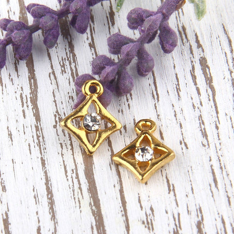 SALE, Diamond Shaped Mini Charm Pendants, Shiny Gold Plated, 2 pieces // GCh-216