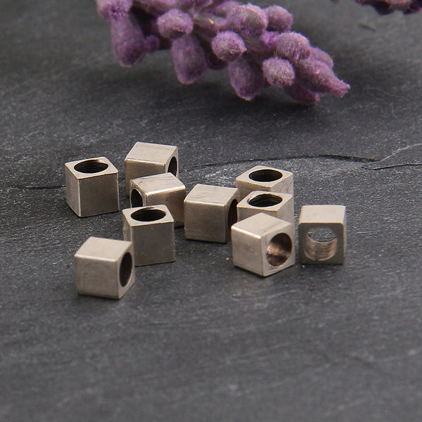 Silver Cube Beads, Cube beads with large holes, 4mm Cube Beads, Metal Cube Beads, 10 pieces // SB-094