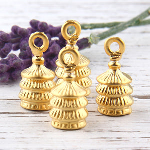 Gold Plated Layered Cones, Bead Caps, Tassel Caps, Cord End Caps, 4 pieces // GF-140