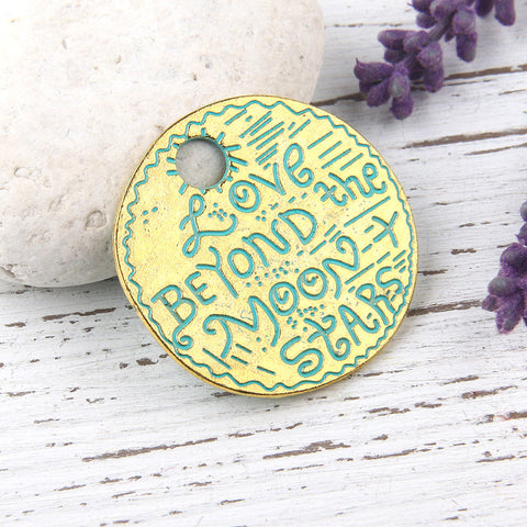 SALE, Verdigris Green Patina Love Pendant, Letter Pendant, Love Beyond the Moon and Stars, 1 piece // ABP-064