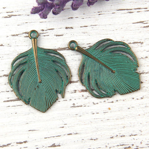 Verdigris Green Patina Feather Pendant Charms, Antique Bronze, 2 pieces // ABCh-021