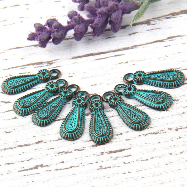 Verdigris Green Patina Rustic Teardrop Charms, Antique Bronze, 8 pieces // ABCh-024