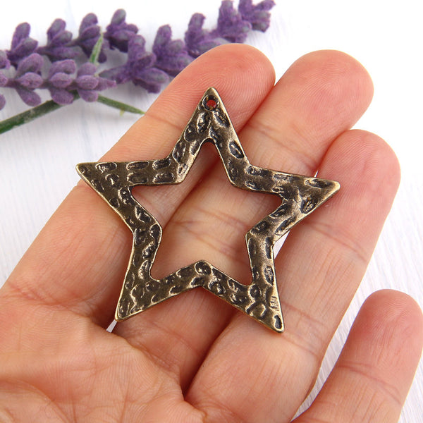 Hammered Star Pendant, Necklace Pendant, Bronze Star Pendant, 1 piece // ABP-070