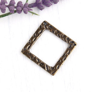 Antique Bronze, Hammered Square Pendant, Antique Bronze, Necklace Pendant, 1 piece // ABP-071