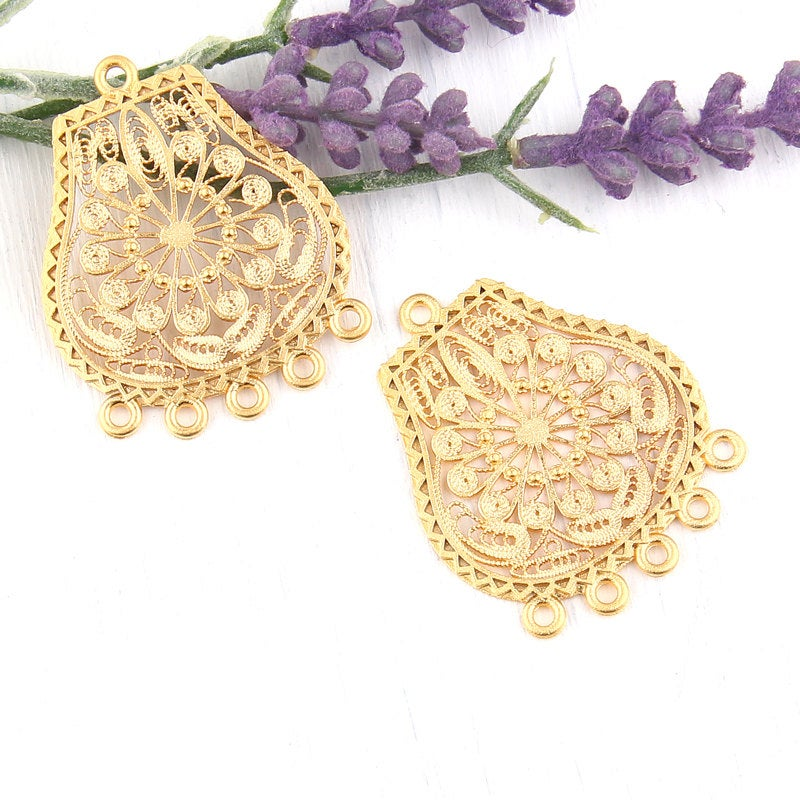 Gold Filigree Earring / Necklace Connectors, Chandelier Earring Components, 2 pieces // GC-445