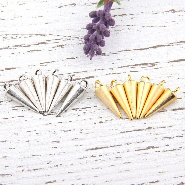 Gold Spike Drop Pendant Charms, Gold Spike Charms, 6 pieces // GCh-219