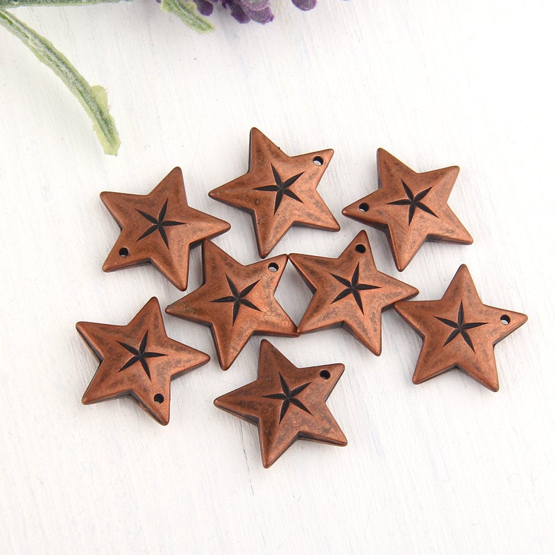 SALE, Copper Acrylic Star Charms, Star Charms, 8 pieces // ACh-011