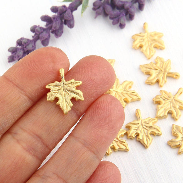 Gold Plane Tree Leaf Charms, Gold Leaf Charms, 10 pieces // GCh-225