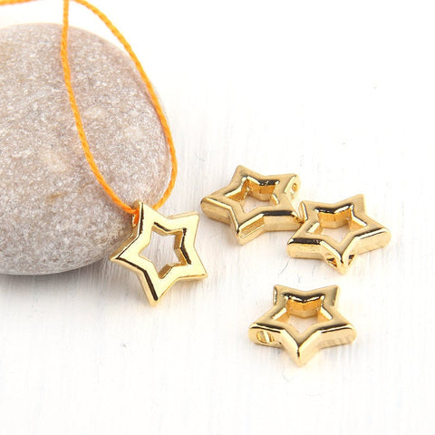 Star, Geometrical Mini Shiny Gold Pendants, Minimal Jewelry, Geometric Jewelry, 4 pieces // GP-485