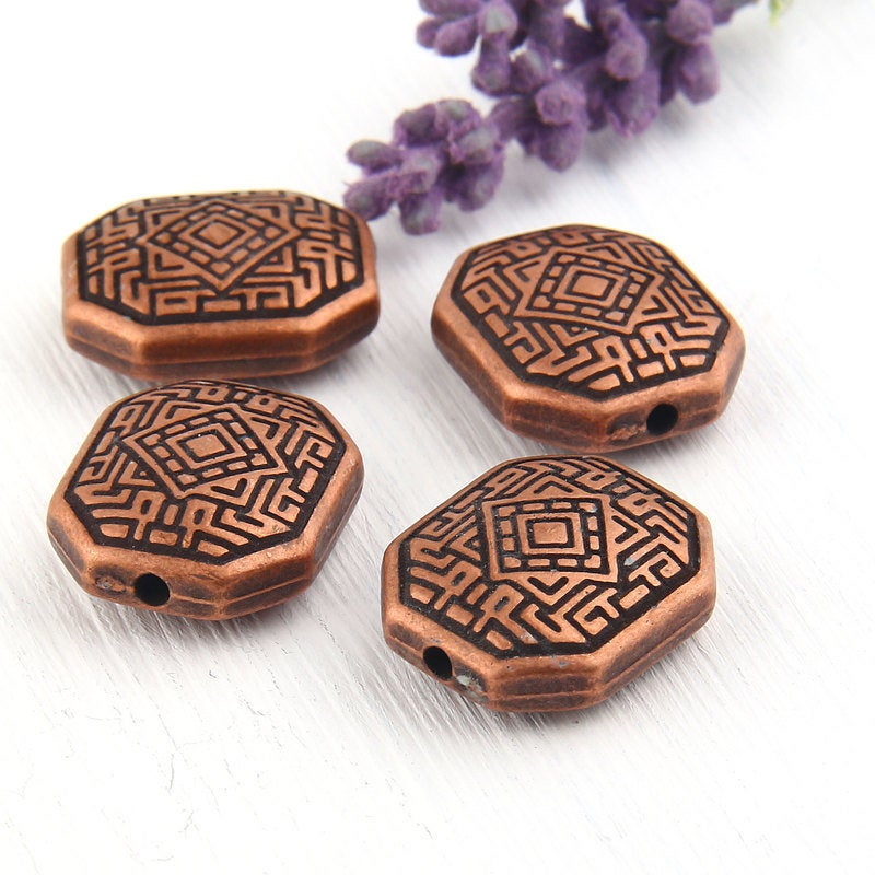 SALE, Octagon Tribal/Ethnic Acrylic Beads, 4 pieces // BD-056
