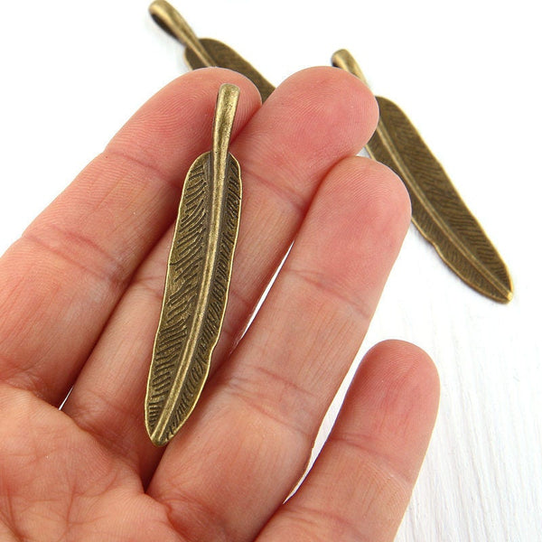 Antique Bronze Feather Charm Pendants, 3 pieces // ABP-075