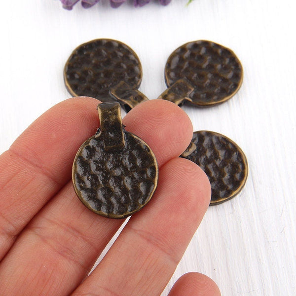 Antique Bronze Hammered Flat Disc Charm Pendants, 4 pieces // ABP-076
