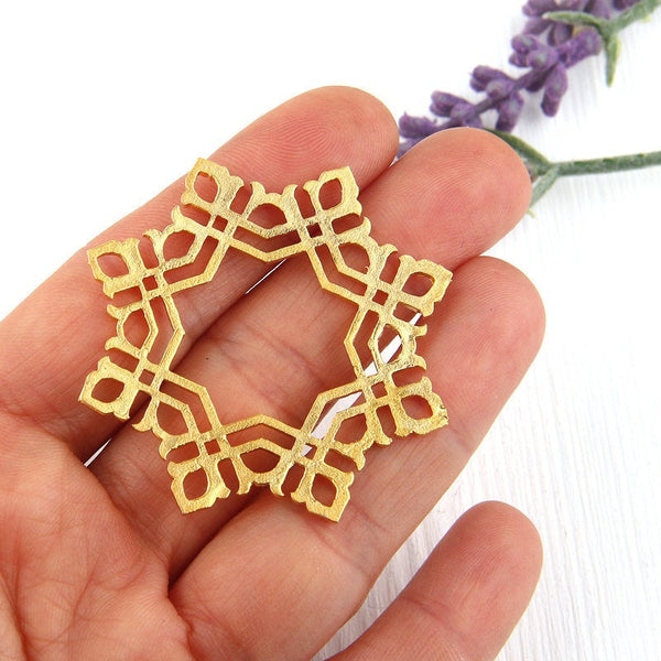 Gold Snowflake Fretwork Connector Pendant, 48mm, 1 piece // GP-491