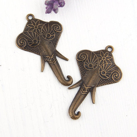 Bali Style Bronze Elephant Pendants, 2 pieces // ABP-077