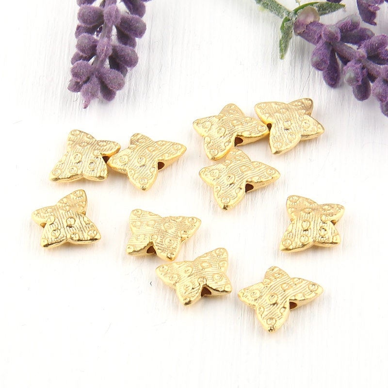 Gold Butterfly Beads, Circle Patterned Butterfly Bead Sliders, 10 pieces // GB-187