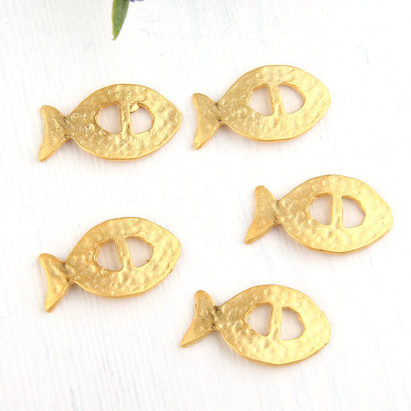Gold Fish Slider, Bracelet Slider Beads, Organic Curved Fish Slider, 5 pieces // GB-190