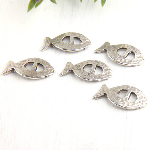 Silver Fish Slider, Bracelet Slider Beads, Organic Curved Fish Slider, 5 pieces // SB-104