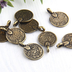 Replica Antique Bronze Round Old Turkish Coin Charms, Ethnic Coin Charms, 8 pieces // ABCh-028