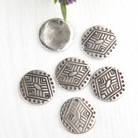 Silver, Round Tribal Flat Disc Charms, Gold Disc Charms, 17mm, 6 pieces // SCh-142