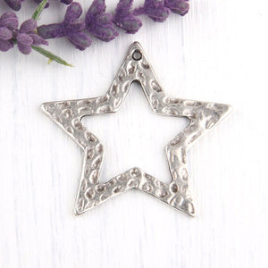 Hammered Star Pendant, Necklace Pendant, Silver Star Pendant, 1 piece // SP-285