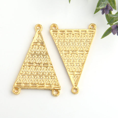 LargeTribal Triangle Connectors, 22k Gold Plated, Triangle Links, Connector Links, 2 pieces // GC-463