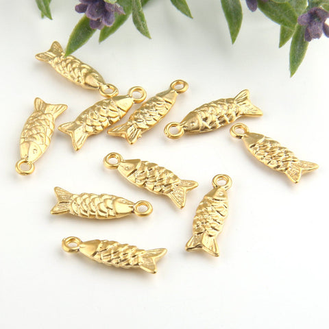Gold, Mini Fish Charms, Fish Dangles, Animal Charms, 10 pieces // GCh-231