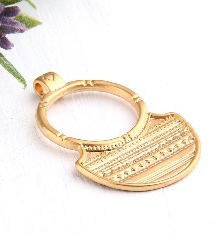 Gold Rustic Tribal Pendant, 1 piece // GP-496