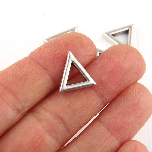 Triangle, Geometrical Mini Silver Pendants, Minimal Jewelry, Geometric Jewelry, 4 pieces // SP-291