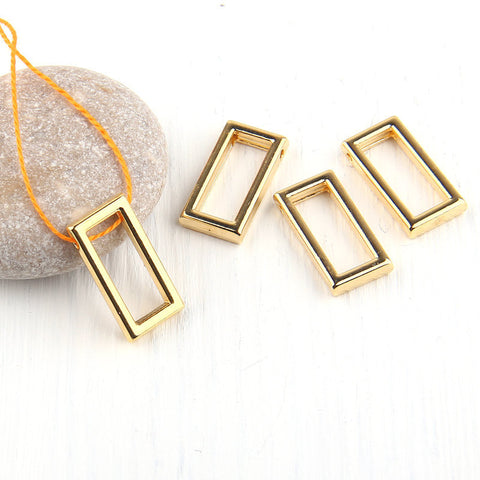 Rectangular, Geometrical Mini Shiny Gold Pendants, Minimal Jewelry, Geometric Jewelry, 4 pieces // GP-487