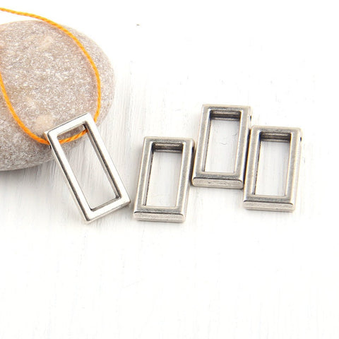 Rectangular, Geometrical Mini Silver Pendants, Minimal Jewelry, Geometric Jewelry, 4 pieces // SP-294