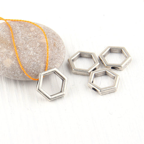 Hexagon, Geometrical Mini Silver Pendants, Minimal Jewelry, Geometric Jewelry, 4 pieces // SP-293