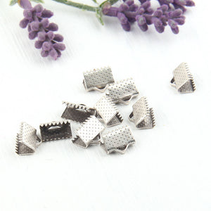 Silver Ribbon Clips, Cord Clamp,10 mm, 10 pieces // SF-094