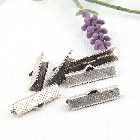 Silver Ribbon Clips, Cord Clamp, 25 mm, 6 pieces // SF-096