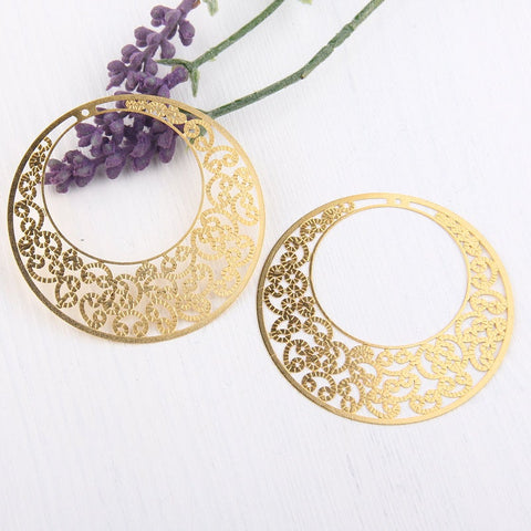 Laser Cut Curly Filigree Earring Pendants, 60mm, 2 pieces // GP-488