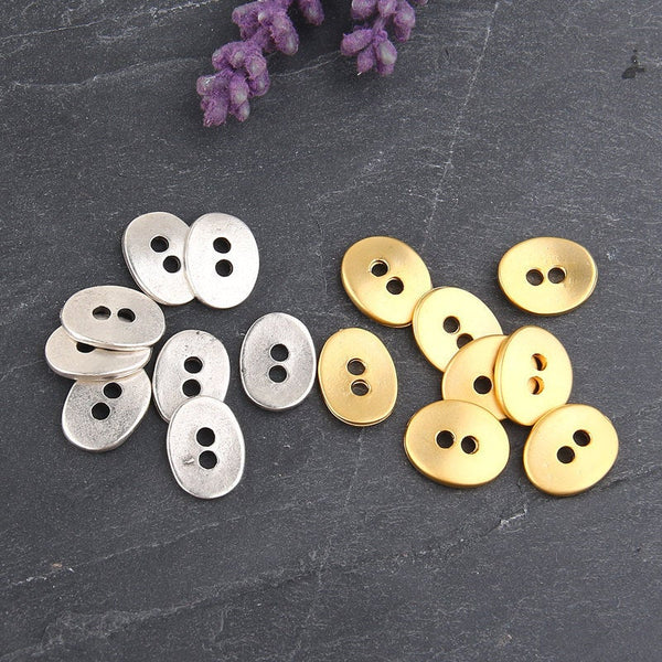 SALE, Gold Oval Button Beads, Plain Button Bead Supplies, 8 pieces // GB-181