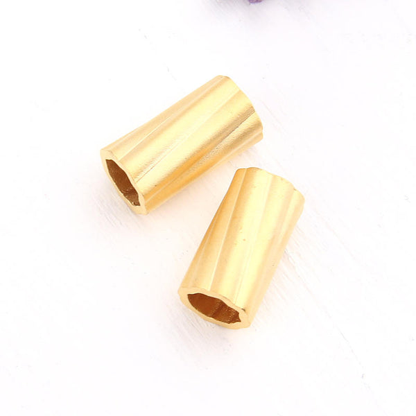Gold, Industrial Tubular Beads, 9x16 mm, Long Tubular Metal Beads, Large Tube Spacer, 2 pieces // GB-186